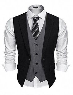 Coofandy Mens Formal Fashion Layered Vest Waistcoat Dress Vest Material   Polyester and Viscose Fake two piece vest and adjustable back strap 5fc5cbe58246