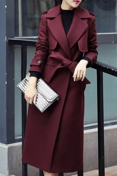 Yilian Allison Winter Coat in Red Wine