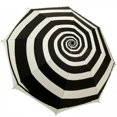 This fun and unique black and white spiral golf size umbrella will keep you dry from the rain. UV protected, this umbrella is selling well for festival season! Black White Stripes, Black And White, Kitsch, Under My Umbrella, White Umbrella, Umbrella Art, Brollies, Night Circus, Umbrellas Parasols