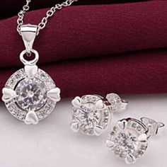 925 Silver Set of Necklace and Earrings Beautiful and new! Jewelry Necklaces