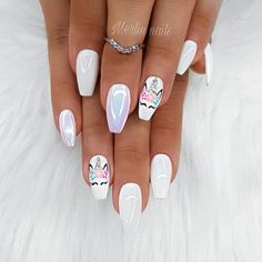 Both long nails and short nails can be fashionable and beautiful by artists. Short coffin nail art designs are something you must choose to try. They are one of the most popular nail art designs. Today, in this article, we have collected 40 stylish Girls Nail Designs, White Nail Designs, Nail Art Designs, Unicorn Nails Designs, Unicorn Nail Art, Nails For Kids, Girls Nails, Nail Swag, Long Nails