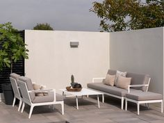 SEVILLA Lounge Garten Sofa 2-Sitzer Weiß & Textilene Taupe