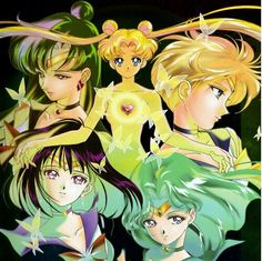 Love this art Sailor Moon and the Outer Senshi, Pluto, Saturn, Uranus, and Neptune #sailormoon