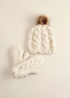 lookbym - Striped Knit Fur Pompom Hat Ivory Theset Setitem