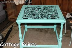 turquoise to teal painted and stenciled blue furniture, painted furniture