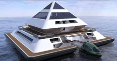 Architect Pierpaolo Lezzerini is creating his own Waterworld with the Wayaland Floating Community. The buoyant pyramids are inspired by a fusion of Mayan architecture and. Architecture Design, Floating Architecture, Pavilion Architecture, Sustainable Architecture, Residential Architecture, Contemporary Architecture, Landscape Architecture, Futuristic Home, Futuristic Architecture