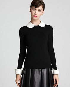 Milly Sweater - Leather Trim - Contemporary - Bloomingdale's