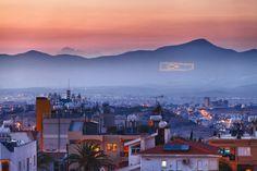 Occupied Cyprus. Turkish flag painted & illuminated onto Kyrenia Mountains