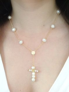9090289f9e15 Cross Y Necklace Pearl Cross Necklace Delicate Freshwater pearl Rosary  crucifix pendant catholic jewelry pearl rosary mothers day gift