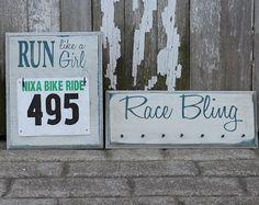 Running Medals Holder Running Medals Display Rack and Race Bib Rack Combo - Run Like a Girl  Race Bling. $48.00, via Etsy.