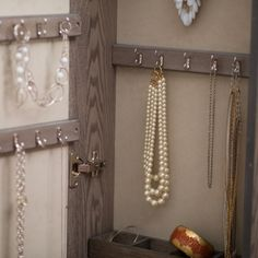 Wall Mounted Locking Mirrored Jewelry Armoire - Driftwood