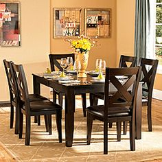 i think this is a good solid set - ~$850 Acton Warm Merlot X-back Casual 7-piece Dining Set