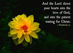 And the Lord direct your hearts into the love of God, and into the patient waiting for Christ. ~ 2 Thessalonians 3:5 KJV