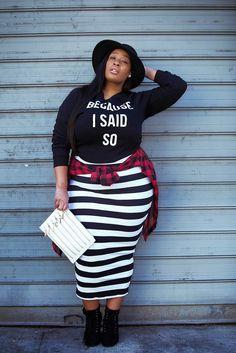 #look #stripes #plussize #hat #check #shirt
