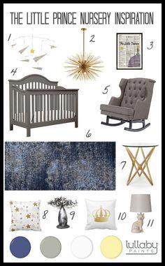 storybook nursery design - the little prince - lullaby paints #nurserydesign #nurserymoodboard
