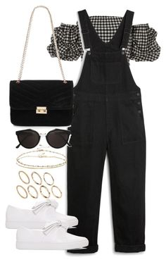 A fashion look from June 2017 featuring shirt crop top, dungaree overalls and pull on shoes. Browse and shop related looks. Kpop Fashion Outfits, Swag Outfits, Mode Outfits, Cute Casual Outfits, Pretty Outfits, Stylish Outfits, Looks Chic, Looks Style, Outfit Trends
