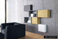 Concrate wall and modern modular furniture - idea for minimal living room