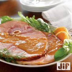 Sliced Ham with Peanut Butter Glaze from Jif®    *different-has anyone tried this?*