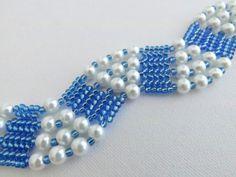 Beadwork Herringbone Bracelet Pearls Ndebele от MadeByKatarina
