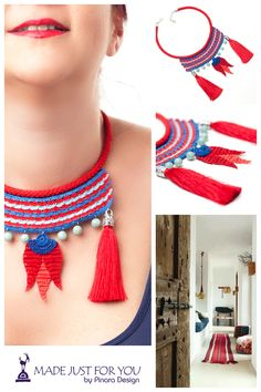 Pinara Design Bohemian Jewelry / Tassel Necklace / Tulip Necklace / Iznik Tile…
