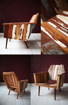 Remade armchair recycled with reclaimed floorboards from Berlin. Made by Michael at Not A Wooden Spoon.
