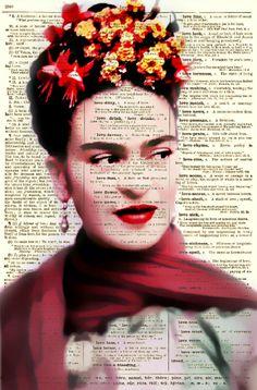 #FridaKahlo  retrato digital impresa en una página del diccionario viejo año #ArtPrint
