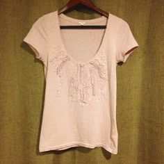Jcrew pink top Beautiful, neutral Pink J.Crew top. Beaded details on the chest, and frayed neckline. Size XS. J. Crew Tops