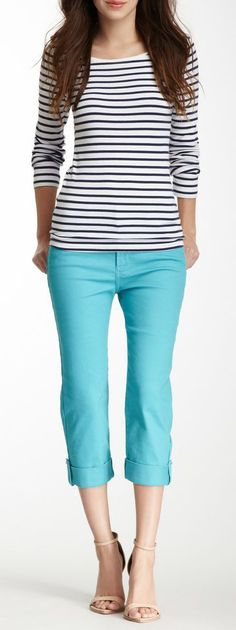 NYDJ Petite Carmen Cuffed Crop Jean The black and white striped shirt adds French flair. Oo la la!