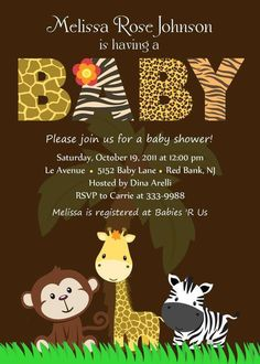 Cute baby animal baby shower invitation