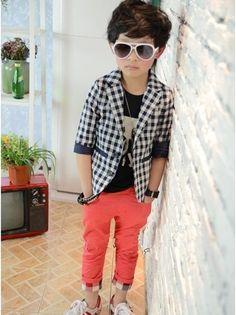 Autumn New Kid Classic Lattice Small Suit Korean Style Jacket Boys'Coat