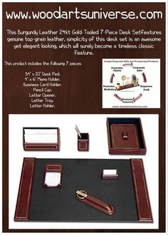 The outstandingly designed 24kt Gold-Tooled 7-Piece Desk Set will add a professional appearance to any office, the sophisticated leather desk set is made from the highest quality top grain leather .  http://woodartsuniverse.com/catalog/product_info.php?cPath=42&products_id=526   #freeshipping