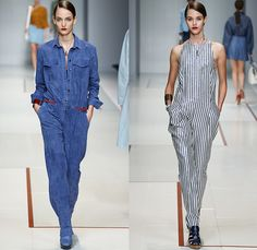 Trussardi 2015 Spring Summer Womens Runway Looks - Milano Moda Donna Collezione Milan Fashion Week Italy - Outerwear Trench Coat Trenchdress Coatdress Suede Leather Studs Romper Onesie Jumpsuit Coveralls Boiler Suit White Handkerchief Hem Blouse Motorcycle Biker Knit Cardigan Dress Alligator Crocodile Bomber Jacket Crop Top Midriff Shorts Miniskirt Wide Leg Pants Palazzo Pants Stripes