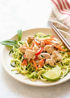 Quick Green Curry Chicken with Zucchini Noodles! Use store-bought green curry for a fast dinner and keep it light with zucchini noodles instead of rice noodles. (Gluten-free, Paleo)
