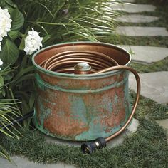 garden hose storage pot. Our Patina Copper Hose Pot Takes On The Look Of Antiqued Garden Art, And Becomes Storage O
