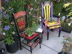 Painted Chairs in the Garden