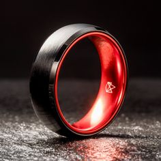 Black Tungsten Ring - Resilient Red - 8MM