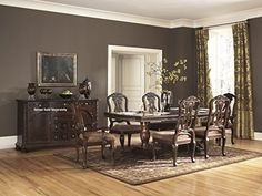 NorthShore Brown Finish Double Pedestals And Leafs Formal Dining Set, Rectangle Table, 4 Side Chair, 2 Arm Chair