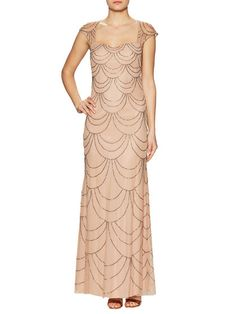 Cap Sleeve Beaded Gown by Adrianna Papell at Gilt