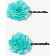 Satin Rosette Hair Pin Set ($1.80) ❤ liked on Polyvore