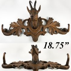 Antique Black Forest Crop or Hat Rack, Fine Ibex, Natural Horn, Hand Carved c. How To Antique Wood, Black Forest, Antlers, Horns, Hand Carved, Moose Art, Lion Sculpture, Statue, Antiques