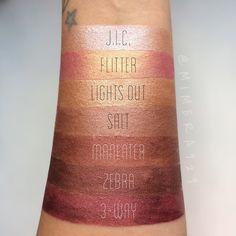 ColourPop UltraMetallic swatches by @mimera929  J.I.C., Flitter, Lights Out, Salt, Maneater, Zebra, 3-way