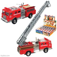 Die Cast Fire Engine - Toysmith - Pack of 12 ea - Toydoo.com - These die cast 5 inch long fire engines feature moving parts and pull back action. Two assorted styles. Made by Toysmith. Pack of 12 each.