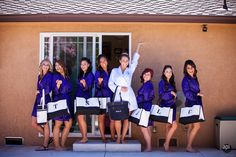 The bride and her maids with their robes and bags. Good for a place that has a pool! Photography by A Perfect Impression