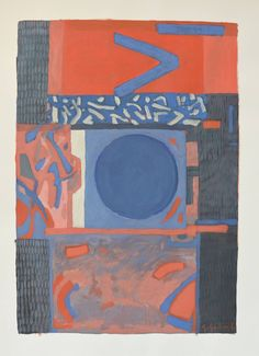 Gabriel Godard - Composition in red and blue | 1stdibs.com