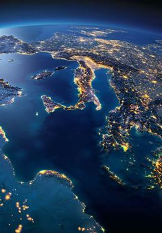 Planet Earth ©: Italy and the Mediterranean Sea (from Space). Wallpaper Earth, Planets Wallpaper, Wallpaper Space, Galaxy Wallpaper, Space Planets, Space And Astronomy, Cosmos, Earth At Night, Italy Map