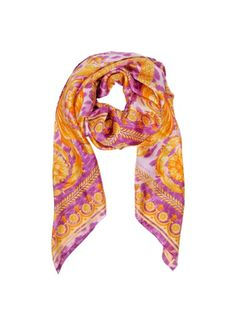 Purple and Orange Twill Silk Wrap - Versace Gifts For My Girlfriend, Silk Wrap, Shawls And Wraps, Versace, Orange, Scarves, Purple, My Style, Womens Fashion