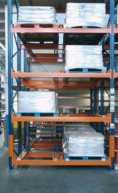 Push-back pallet racking Warehouse Layout, Warehouse Design, Spot Welding Machine, Warehouse Logistics, Racking System, Layout Design, Small Spaces, Lockers, Desk