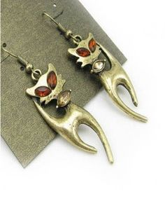 Vintage Brass Metal Cat Earring with Diamante Embellishment