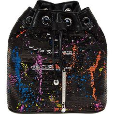 Black Sequined Bucket Bag