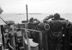 This picture shows Soldiers on look out for enemy submarines during the Battle of the Atlantic. The Battle of the Atlantic was an important war for the allied forces as it was their major way of supplying their troops fighting abroad. The true battle began when German forces began using submarines to destroy the supply shipments. This forced the allies to develop an escort system which would allow merchant ships to travel safely with the protection of war ships.